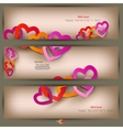 set of three banners with paper hearts valentines vector image
