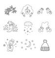 set of winter objects nursery art minimalist vector image vector image