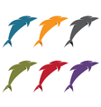 simple flat design of dolphins vector image