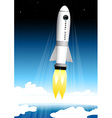 Space tourist rocket blasting off at the launch vector image