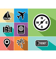 Travel abroad flat icons set design vector image