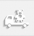 truck with bear white icon with soft vector image vector image