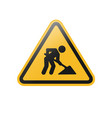 under construction warning sign vector image vector image