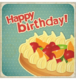 Vintage birthday card with Fruit Cake vector image vector image