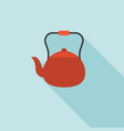vintage teapot flat design with long shadow vector image