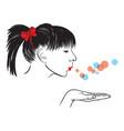 woman blowing vector image vector image