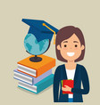 young woman student with education supplies vector image vector image