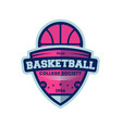 basketball college league vintage label vector image