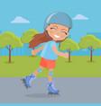 young girl in helmet roller skate in park vector image