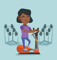 african woman exercising on elliptical trainer vector image vector image