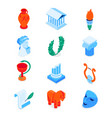 ancient greece - modern colorful isometric icons vector image