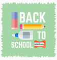 back to school poster with elements on chalkboard vector image