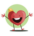 big red heart witha yellow hat laughing with arms vector image vector image