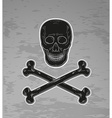 black skull and bones vector image vector image