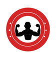 bodybuilder silhouette isolated icon vector image vector image