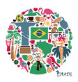 brazilian icons in the form of a circle vector image vector image
