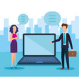 business couple with laptop vector image vector image
