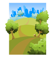 cartoon road through the fields to the city vector image vector image