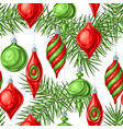 christmas seamless pattern with balls vector image vector image