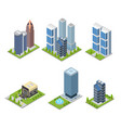 city skyscraper and cafe building set isometric vector image vector image