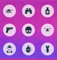 combat icons set with gun grenade tank and other vector image