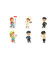 cute kids various professions set painter vector image vector image