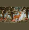 deer in forest cartoon style vector image vector image
