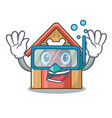 diving cartoon dog house and bone isolated vector image vector image