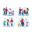 family daily activities and leisure set vector image vector image