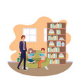 father and children sitting in couch avatar vector image