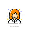 female user avatar of startup founder icon vector image vector image