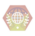geometric globe flat icon vector image