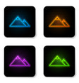 glowing neon mountains icon isolated on white vector image