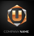 gold letter u logo in the golden-silver hexagonal vector image