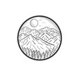 hand drawn mountain designs vector image