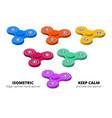 isometric 3d set of fidget spinners or hand vector image