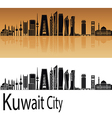 Kuwait City V2 skyline orange vector image vector image