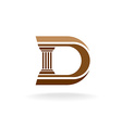 Letter D with column integrated sign Lawyer vector image