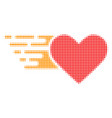 love heart halftone dotted icon with fast rush vector image