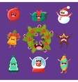 Merry new year and Christmas Items cute faces vector image