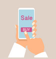 mobile phone as online store online shopping vector image vector image