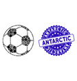 mosaic football ball icon with grunge antarctic vector image vector image