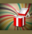 open red paper gift box with silver bow on retro vector image