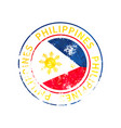 philippines sign vintage grunge imprint with flag vector image vector image