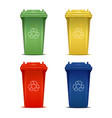 realistic 3d detailed color bins with recycle vector image vector image