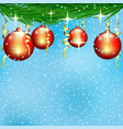 red christmas balls on spruce branches vector image vector image