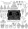 Set of outline birthday design elements vector image