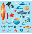 Set of surfing design elements and objects vector image vector image