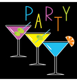 Set of three glasses with cocktails party card vector image vector image