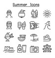 summer icons set in thin line style vector image vector image